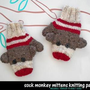 Knitting Patterns For Sock Monkey Clothes : Sock Monkey Mittens Knitting Pattern on Luulla