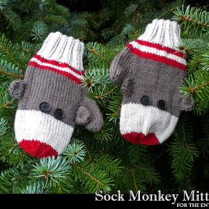Free Crochet Pattern For Sock Monkey Mittens : Sock Monkey Mittens Knitting Pattern on Luulla