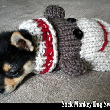 Knitting Pattern For Dog Socks : Sock Monkey Dog Sweater Knitting Pattern on Luulla