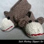 Sock Monkey Slippers for Men and Wo..