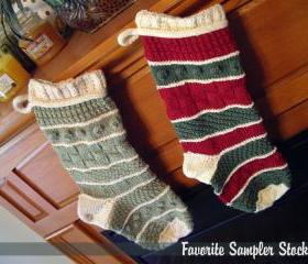 Favorite Sampler Christmas Stocking Knitting Pattern