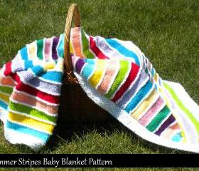 Summer Stripes Baby Blanket Knitting Pattern