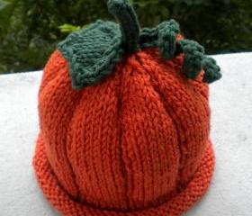 Perfect Pumpkin Hat (done on 2 needles) Knitting Pattern