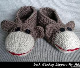 Sock Monkey Slippers for Adults Knitting Pattern