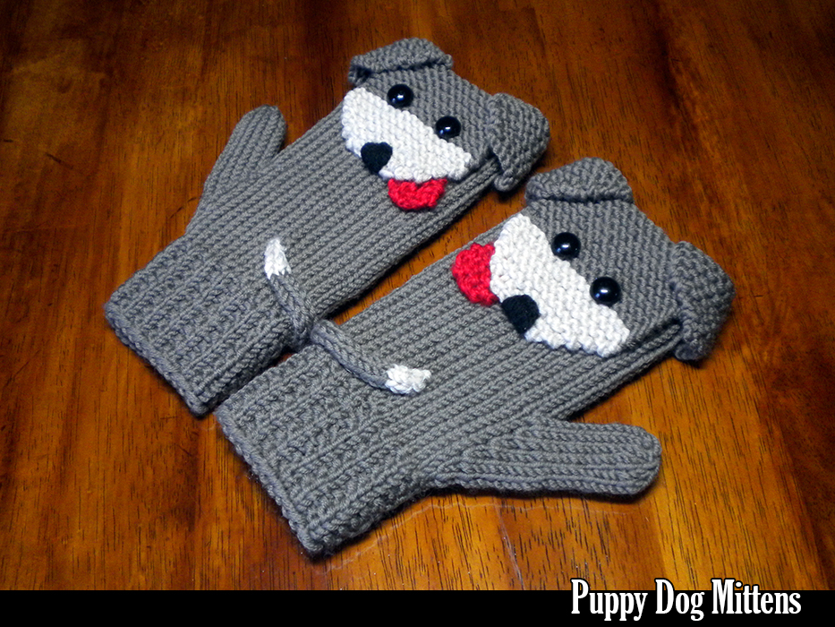 Puppy Dog Mittens for the Family Knitting Pattern