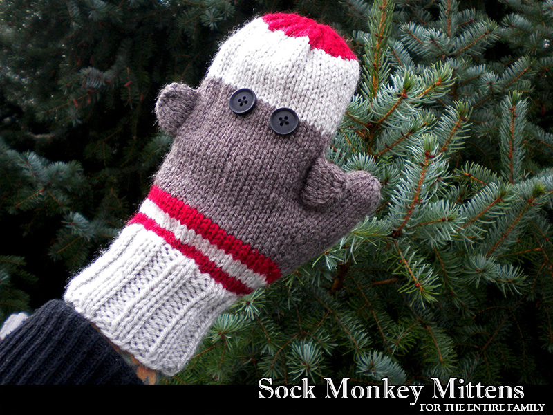 Sock Monkey Mittens Knitting Pattern on Luulla