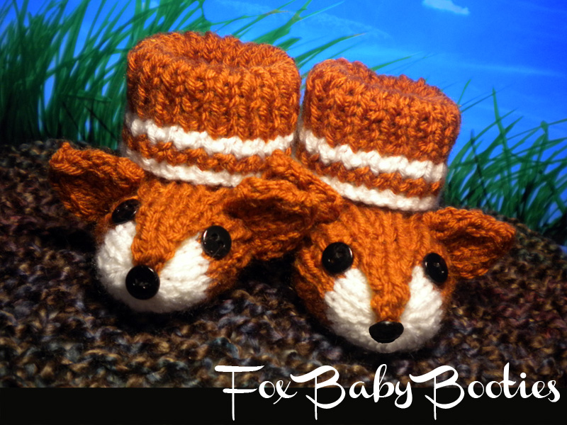 Boot Leg Warmers Knitting Pattern : Fox Baby Booties Knitting Pattern on Luulla