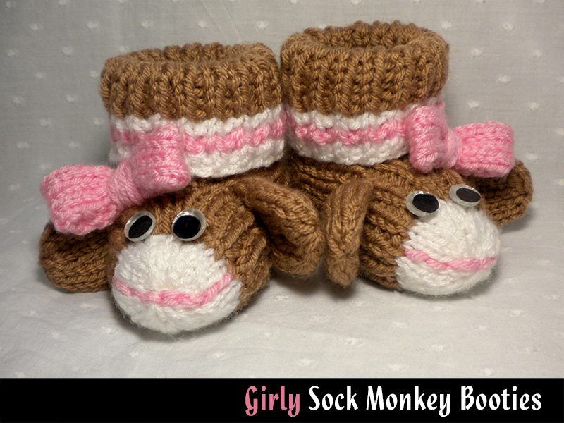 Girly Sock Monkey Baby Booties Knitting Pattern on Luulla