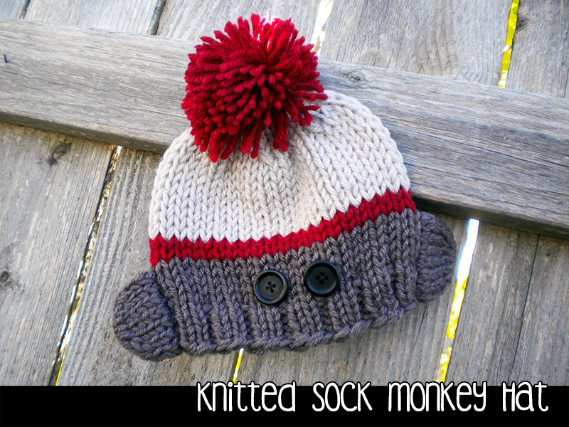 Knitting Patterns For Sock Monkey Clothes : Knitted Sock Monkey Hat For The Family Knitting Pattern on Luulla