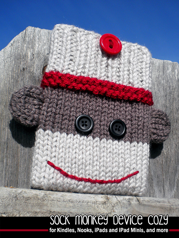 Knitting Patterns For Sock Monkey Clothes : Sock Monkey Device Cozy Knitting Pattern on Luulla