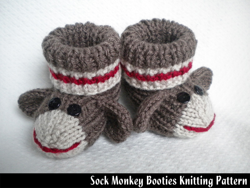 Sock Monkey Hat Knitting Pattern : Sock Monkey Baby Booties Knitting Pattern on Luulla