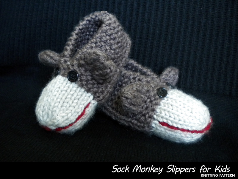 Free Crochet Pattern Sock Monkey Slippers : Sock Monkey Slippers For Kids Knitting Pattern on Luulla