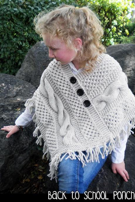 Back to School Poncho Knitting Pattern