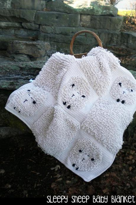 Sleepy Sheep Baby Blanket Crochet Pattern