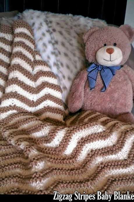 Zigzag Stripes Baby Blanket Knitting Pattern