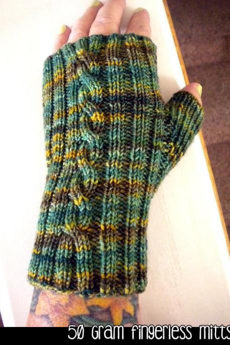 50 Gram Fingerless Mitts Knitting Pattern