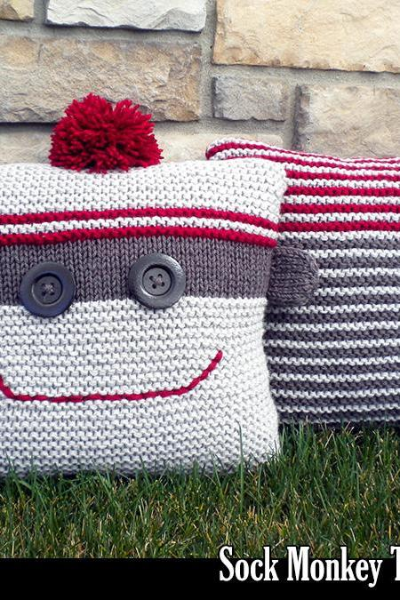 Sock Monkey Throw Pillows Knitting Pattern