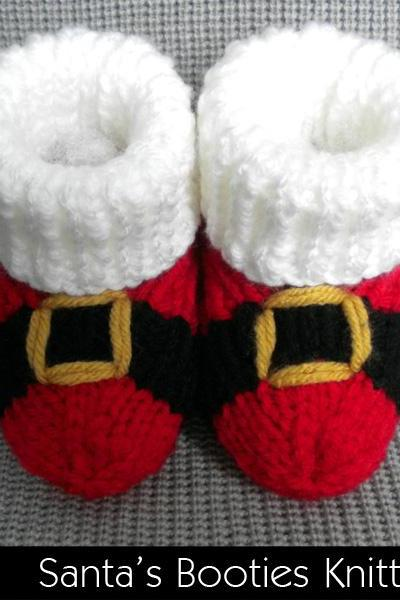 Santa's Baby Booties Knitting Pattern