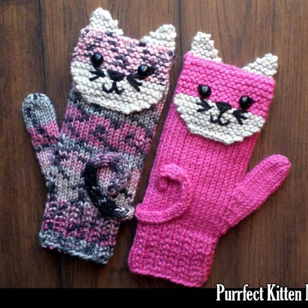 Purrfect Kitten Mittens for the Family Knitting Pattern