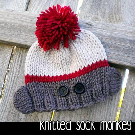 Knitted Sock Monkey Hat For The Family Knitting Pattern On Luulla