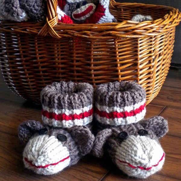 Knitting Patterns For Sock Monkey Clothes : Sock Monkey Booties For Kids Knitting Pattern on Luulla