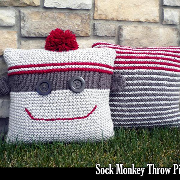 Knitting Patterns For Sock Monkey Clothes : Sock Monkey Throw Pillows Knitting Pattern on Luulla