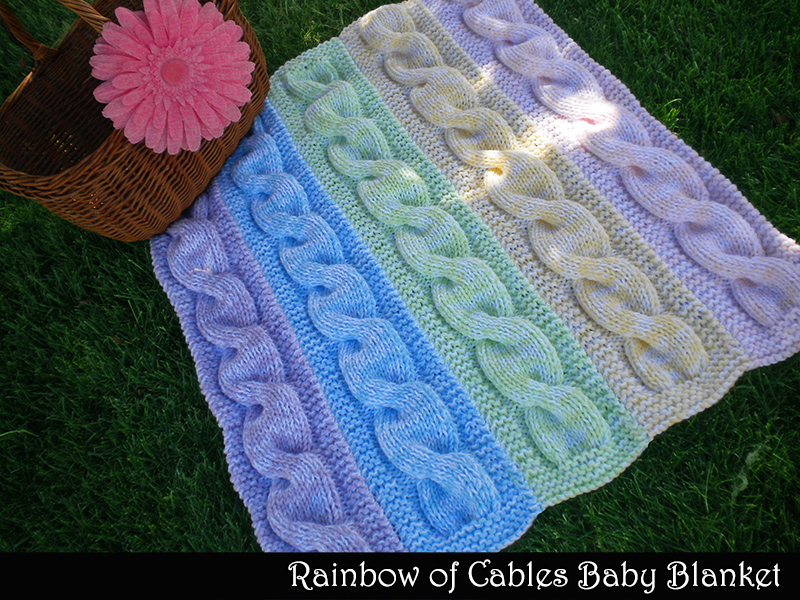 Knitting Pattern Rainbow Blanket : Rainbow Of Cables Baby Blanket Knitting Pattern on Luulla