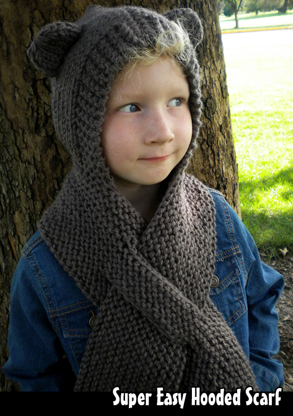 Hooded Scarf Knitting Pattern For Beginners : Super Easy Hooded Scarf Knitting Pattern on Luulla