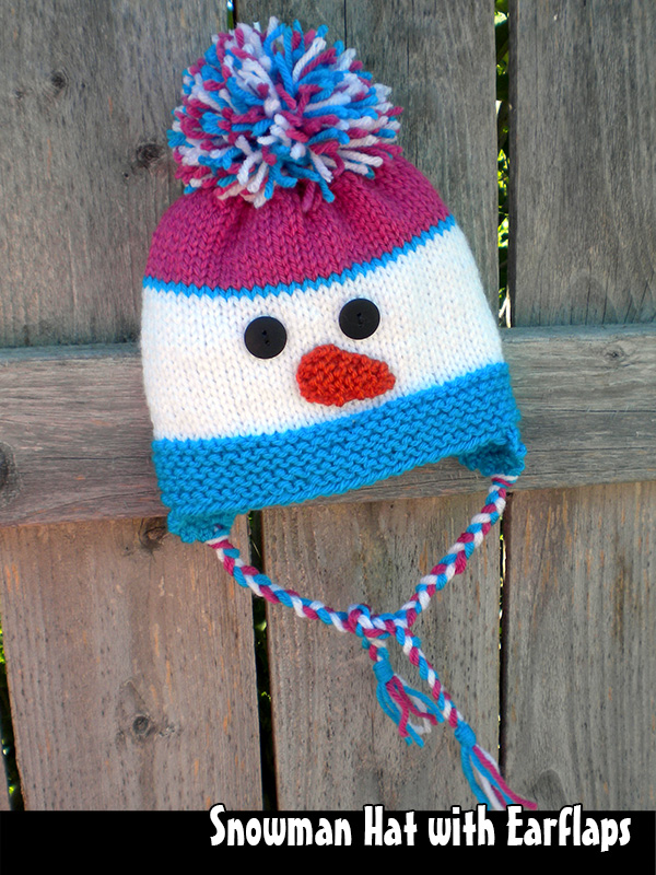 Snowman Hat Knitting Pattern : Knitting Snowman Hat With Earflaps For The Family Knitting Pattern on Luulla