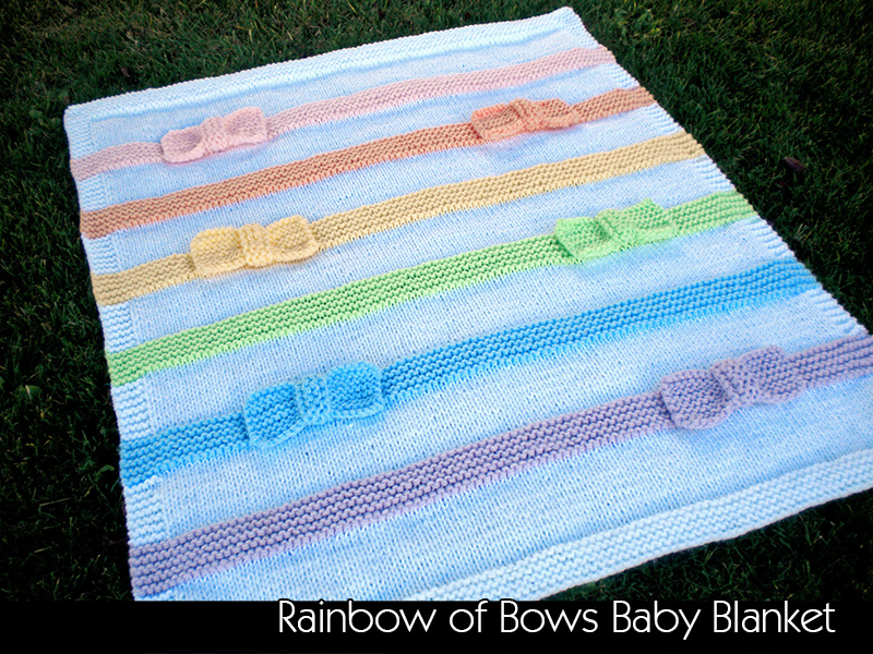 Knitting Pattern Rainbow Blanket : Rainbow Of Bow Baby Blanket Knitting Pattern on Luulla