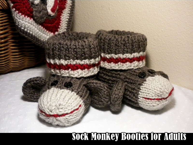 Free Crochet Pattern Sock Monkey Slippers : Sock Monkey Booties For Adults Knitting Pattern on Luulla