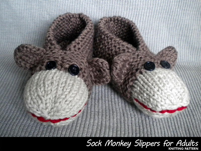 Knitting Patterns For Sock Monkey Clothes : Sock Monkey Slippers For Adults Knitting Pattern on Luulla